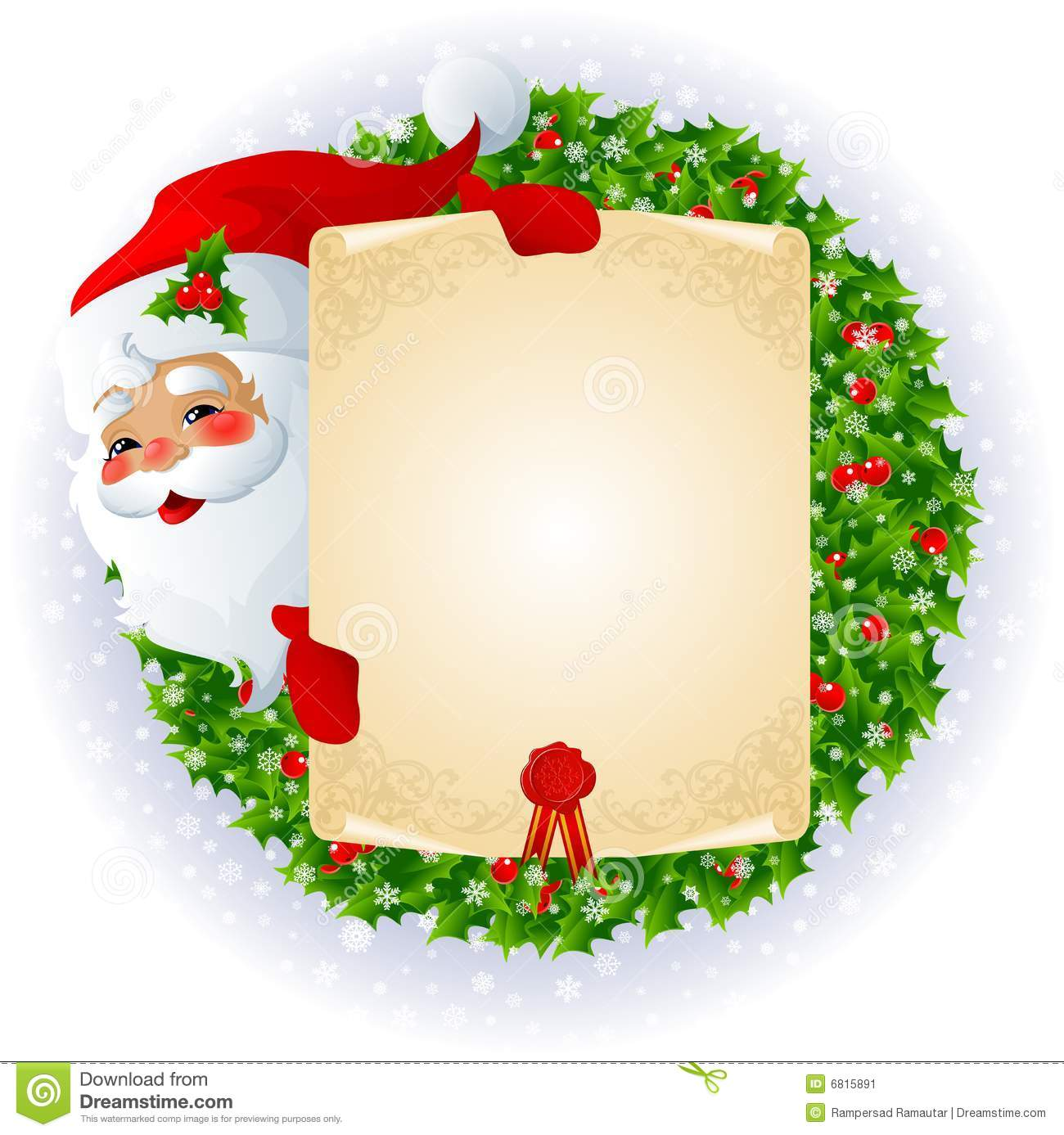Santa Claus With Message Board Stock Image Image 6815891