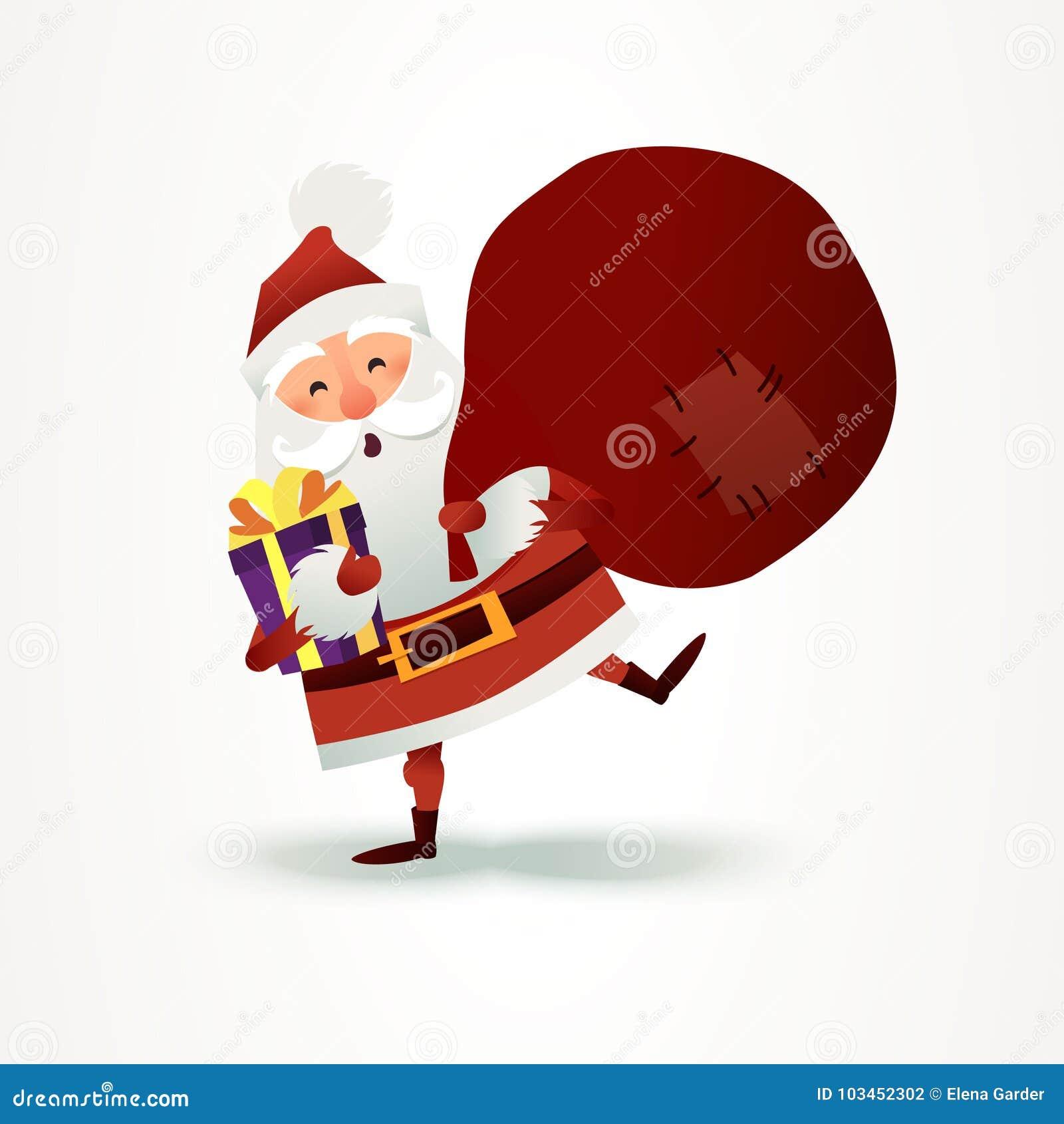 Santa Claus mit dem Sack voll vom Geschenk und vom Präsentkarton Glückliches Weihnachtsvaterzeichentrickfilm-figur