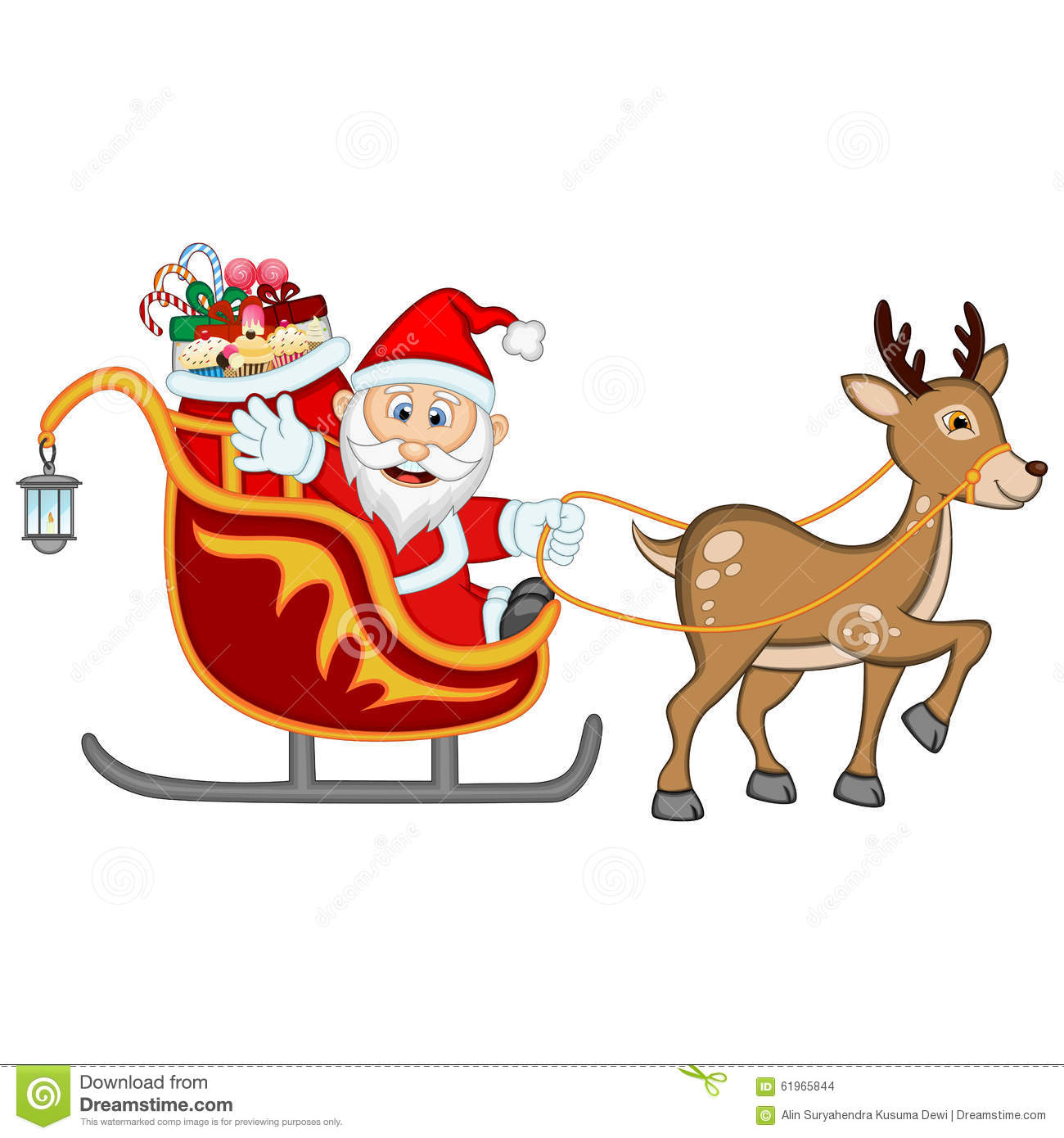 santa claus moving on the sledge with reindeer and brings many