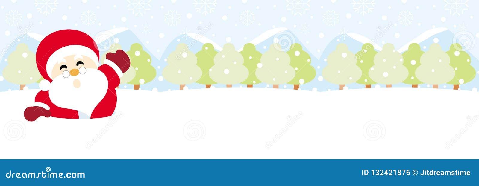Santa Claus na śniegu z płatek śniegu bożymi narodzeniami