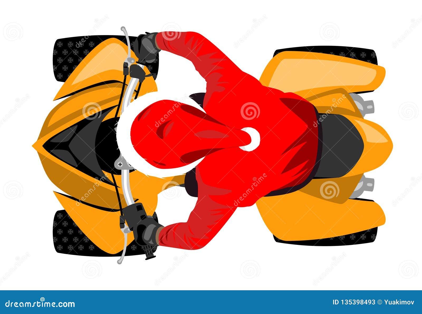 Santa Claus na opinião superior de competência de veículo todo-terreno do esporte clássico isolada na ilustração branca do vetor