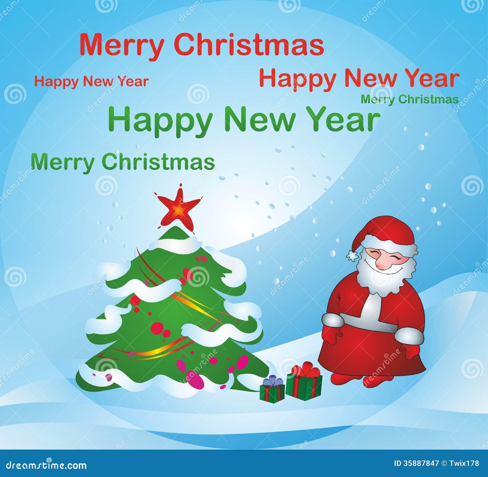 Santa Claus Near Christmas Tree Stock Vector Illustration Of Ball