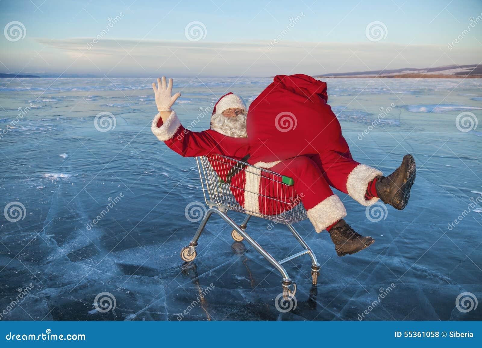 Santa Claus nel camion con una borsa dei regali