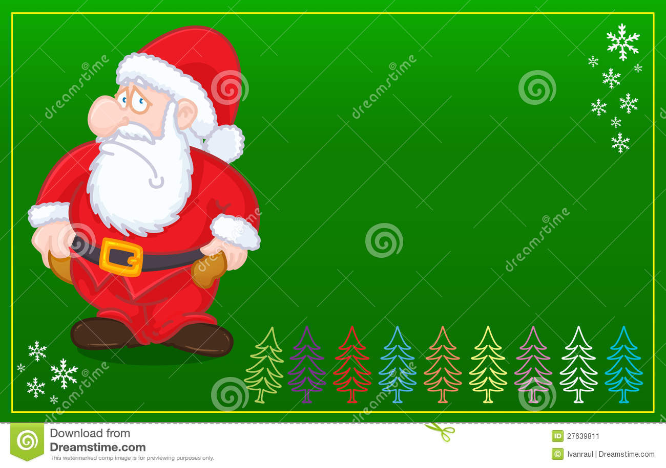 Santa Claus With No Money Christmas GREEN Card Stock Image - Image ...