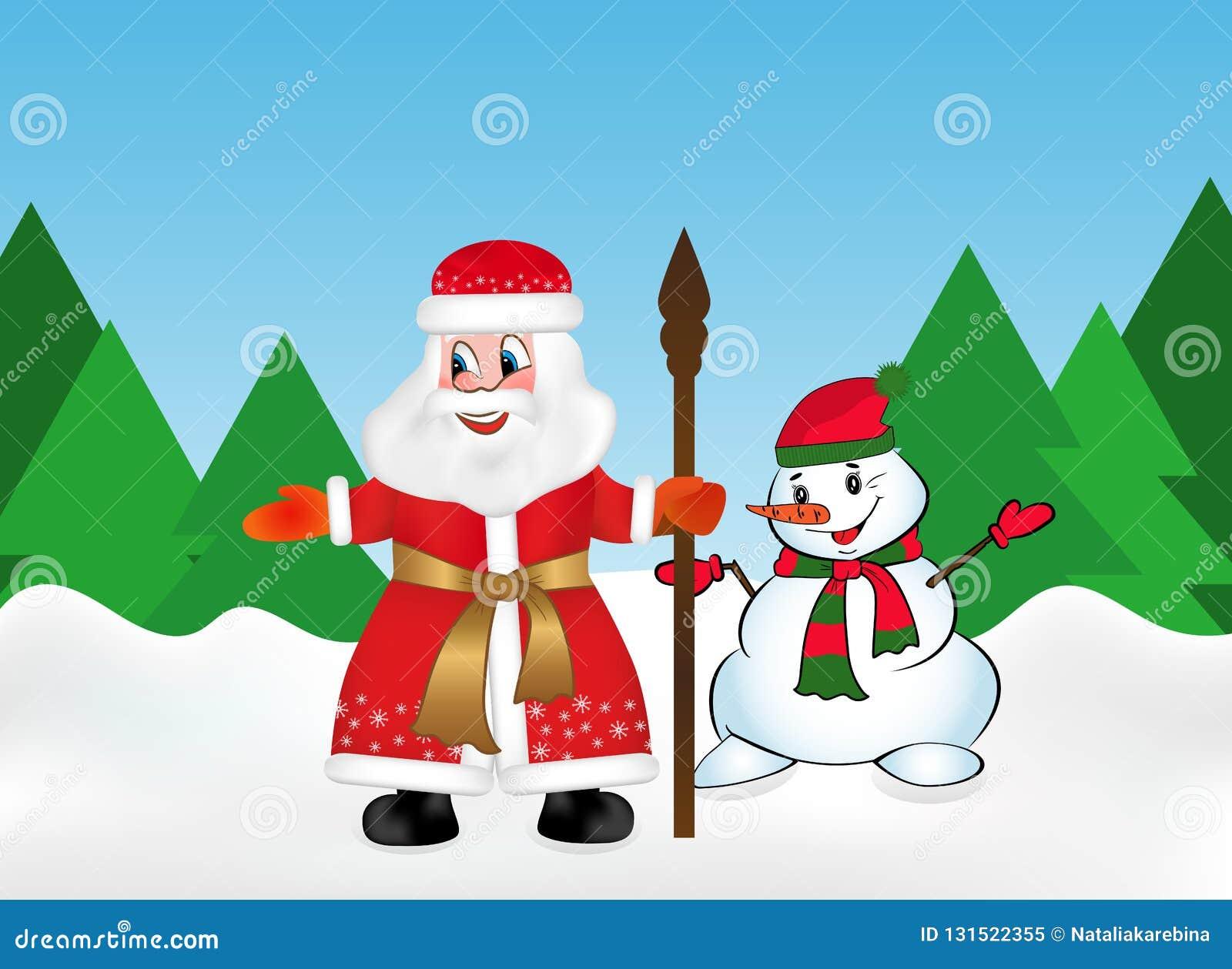 Santa Claus o padre russa Frost anche conosciuto come Ded Moroz con il personale ed il pupazzo di neve nella foresta della neve s