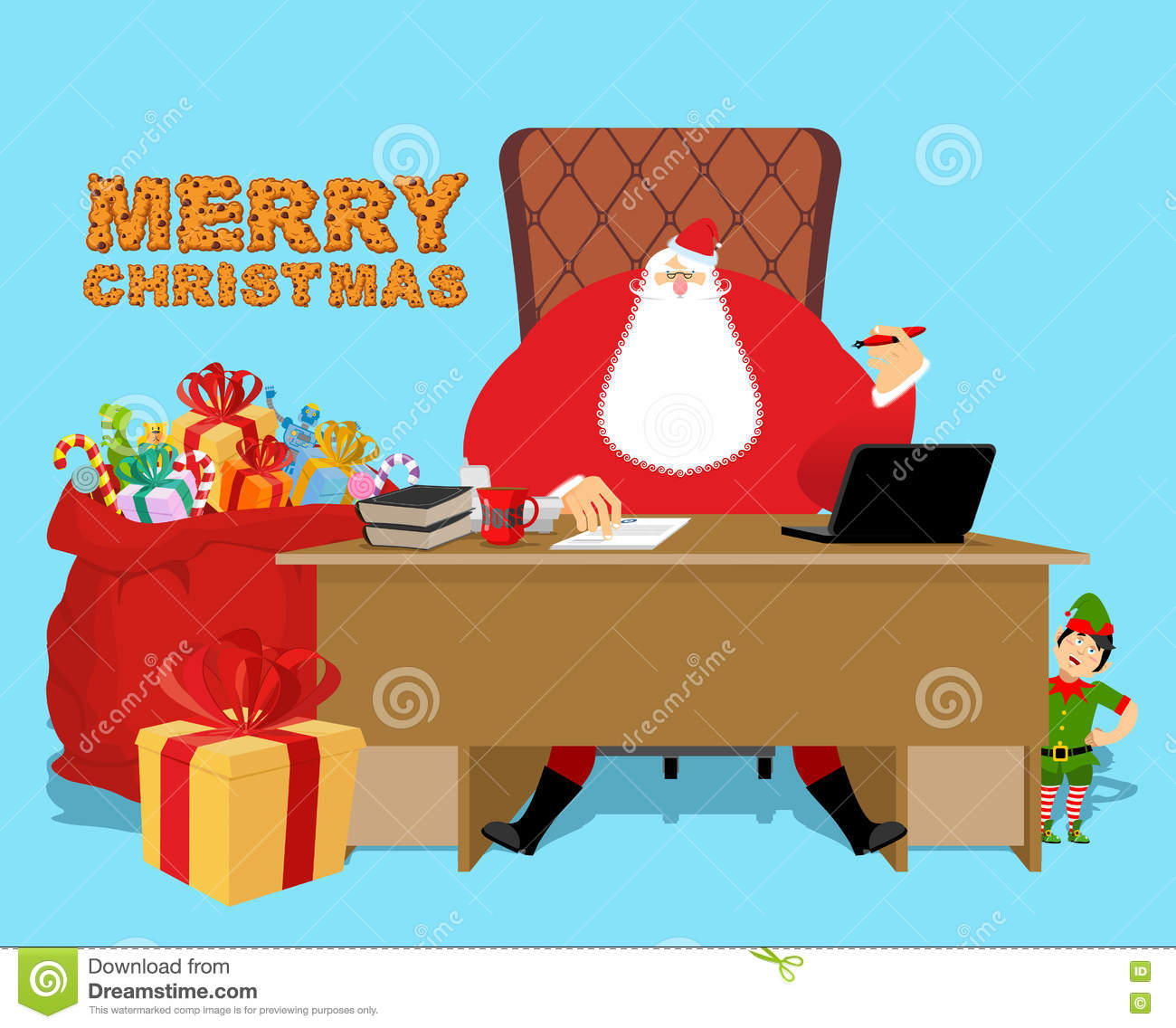 christmas work desk and chair boss grandpa director of new year cheerful elf santas magic residence at north pole workplace and red gift bag fir tree