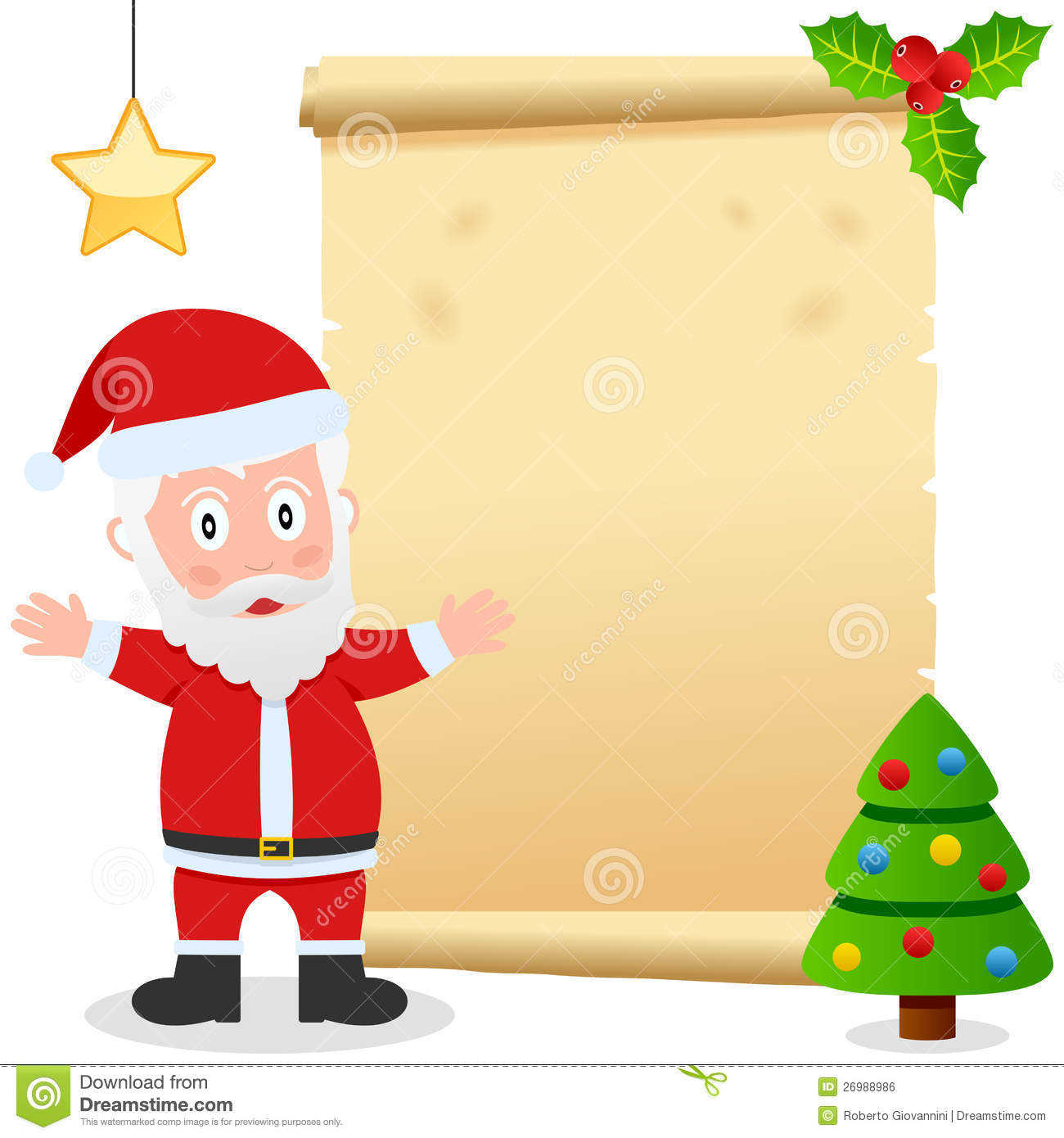 Santa Claus And Old Parchment Royalty Free Stock Image ...