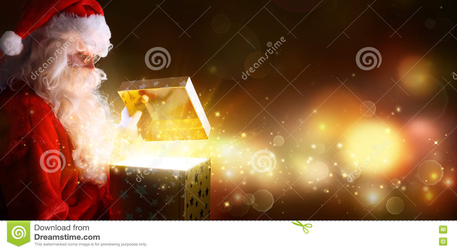 Santa Claus Opening Christmas Present