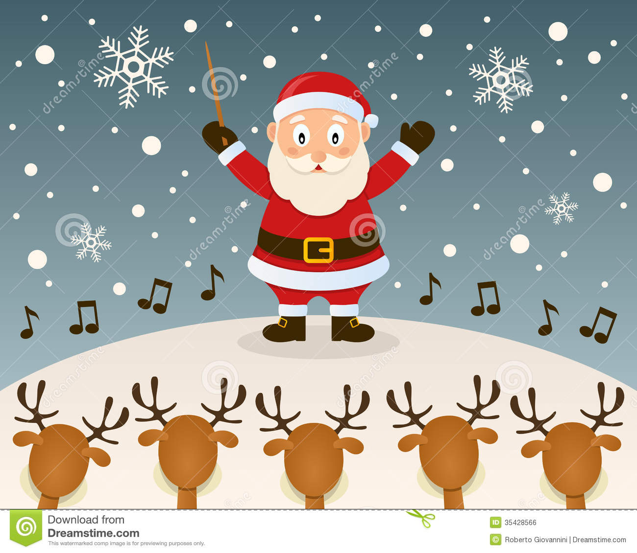 Santa Claus Orchestra Leader Stock Vector - Illustration of ...
