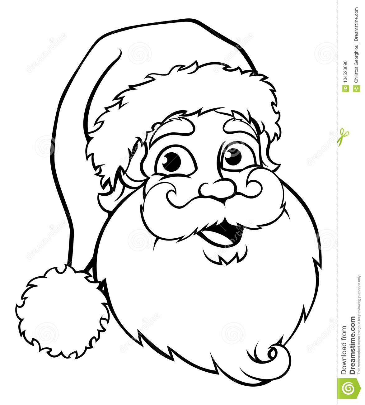 Santa Claus Outline stock vector. Illustration of happy