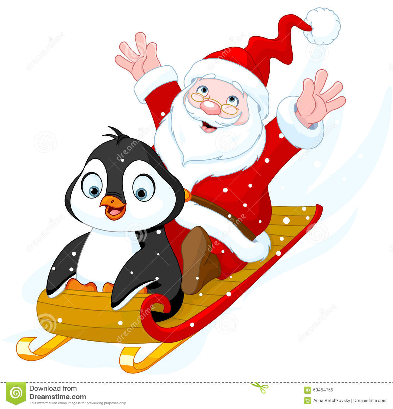 Santa claus and penguin stock vector image of drawing - Clipart illustration ...