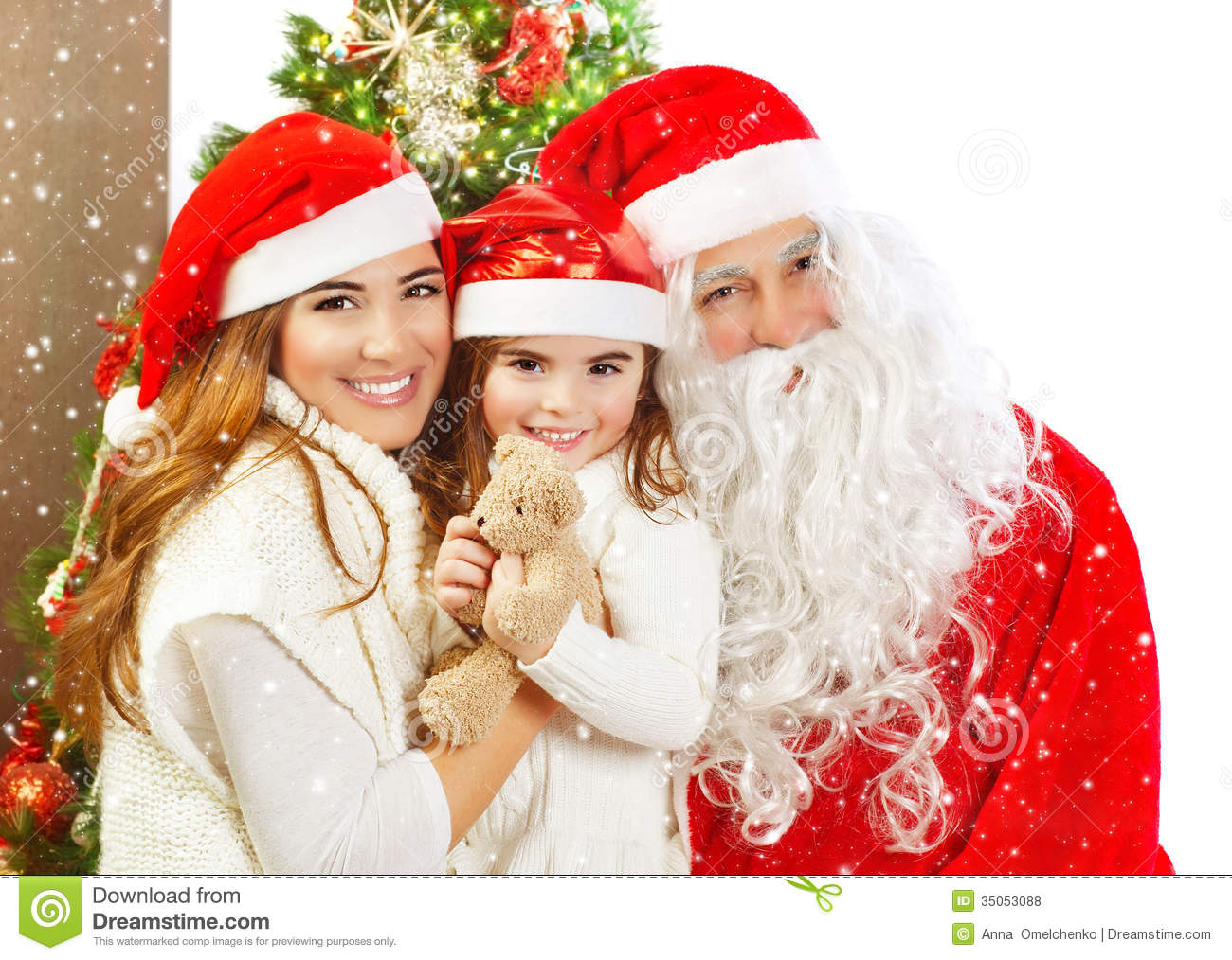 Red santa claus costume christmas magic happiness and love concept