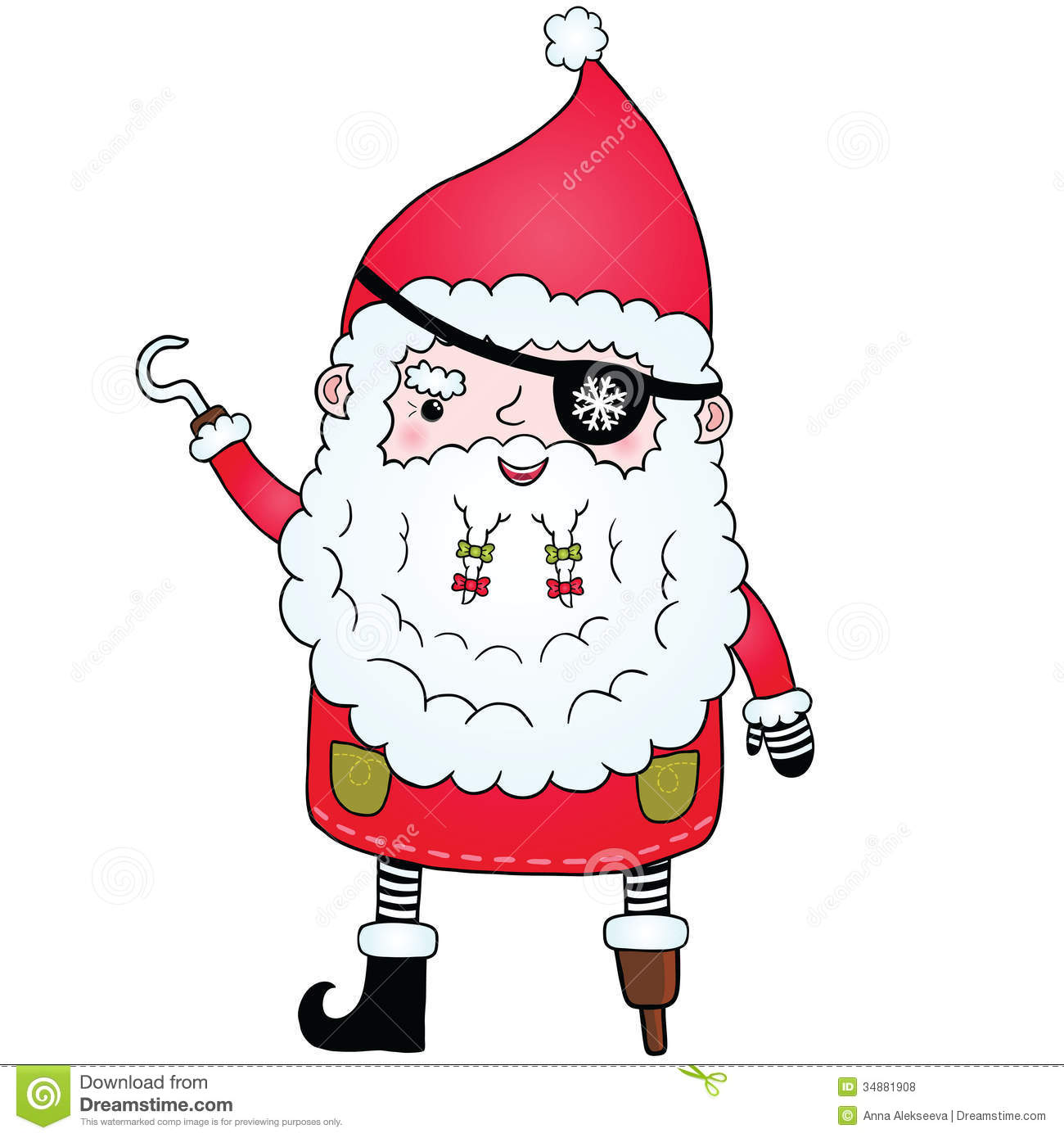 f7b2f2f7d7a06 Santa Claus pirate stock illustration. Illustration of hand - 34881908