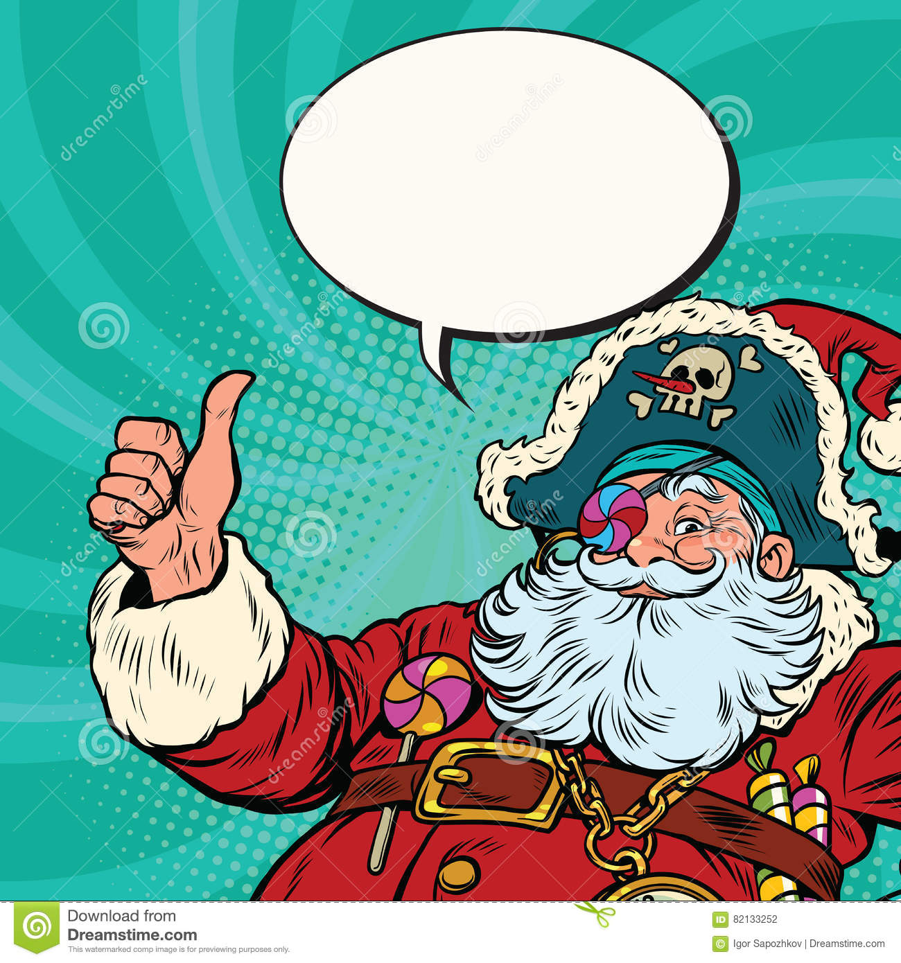 6277ae93c01f7 Santa Claus pirate wishes merry Christmas. Pop art retro vector illustration.  More similar stock illustrations
