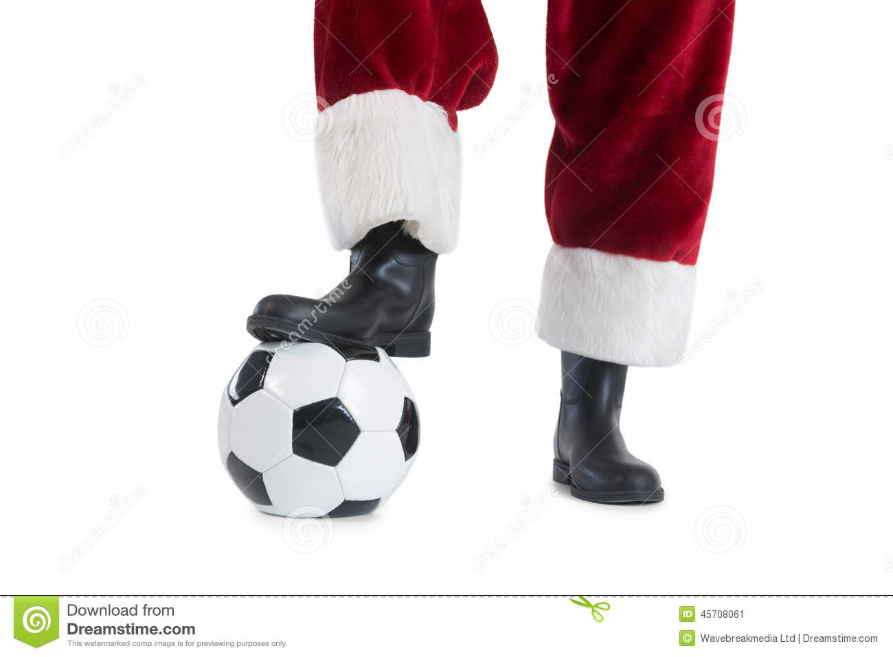 Santa claus is playing soccer stock image