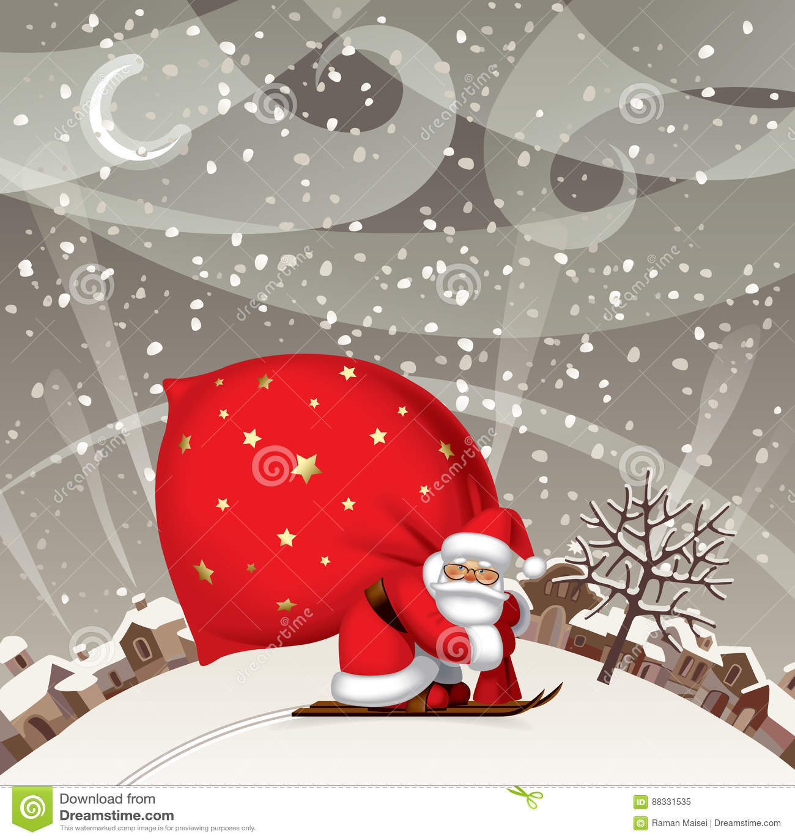 Santa Claus por el esquí con un saco grande rojo contra el landsc del invierno