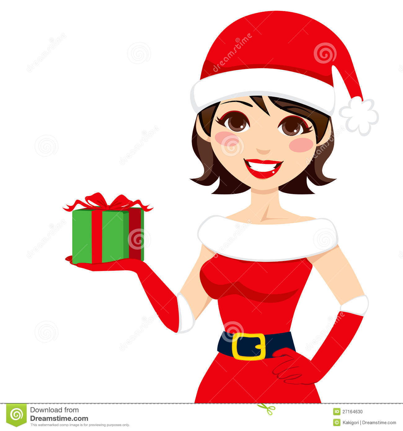 Beautiful woman in Santa Claus clothing holding Christmas present box.