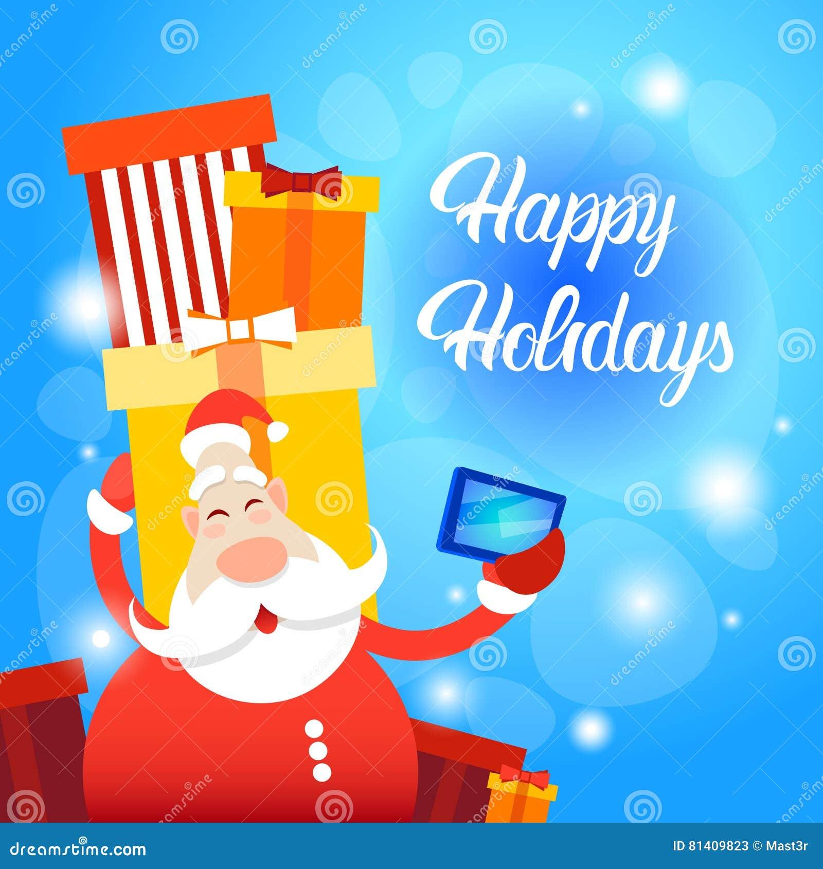 santa claus present box making selfie photo merry christmas greeting card happy new year