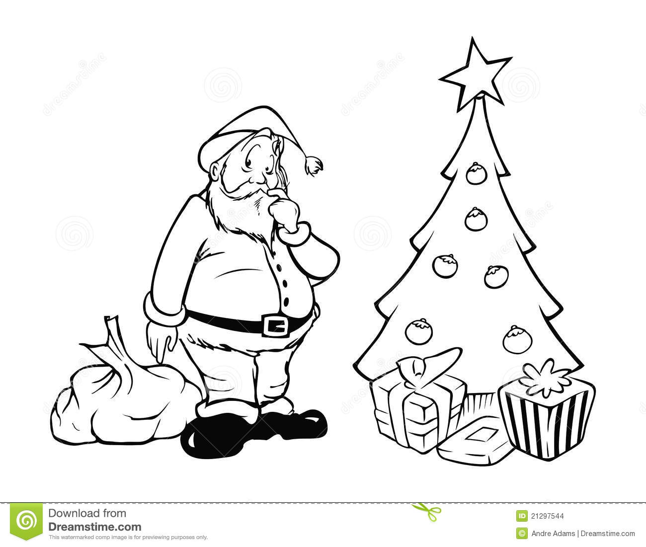 Santa Claus Presents Outline Stock Vector Illustration Of White