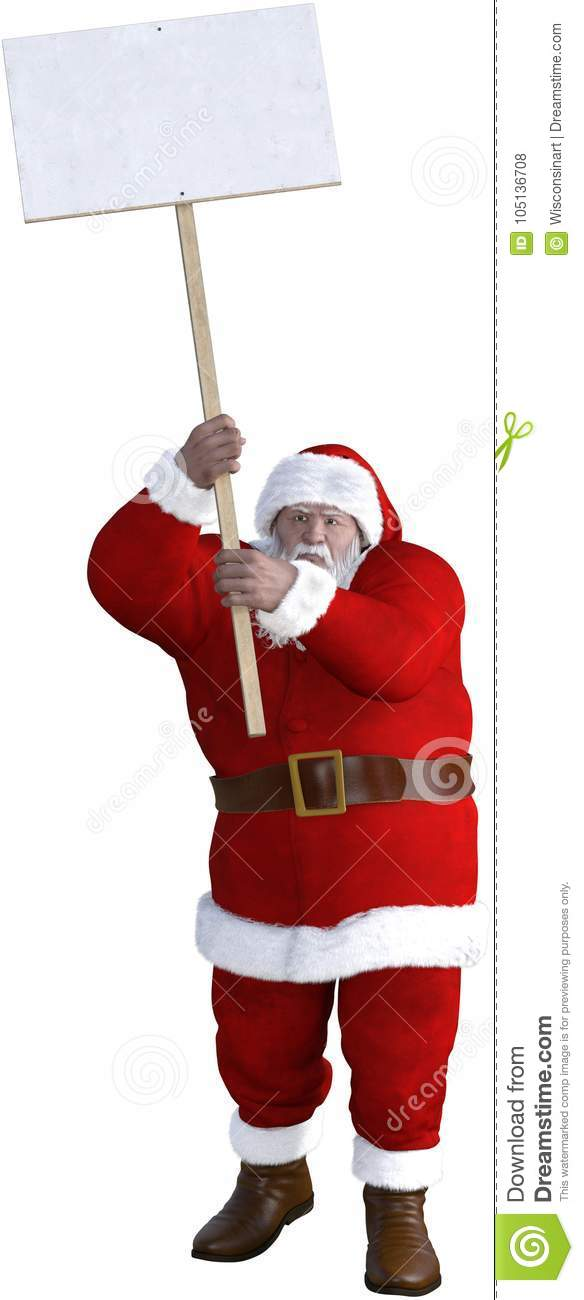 Santa Claus Protest Sign Isolated