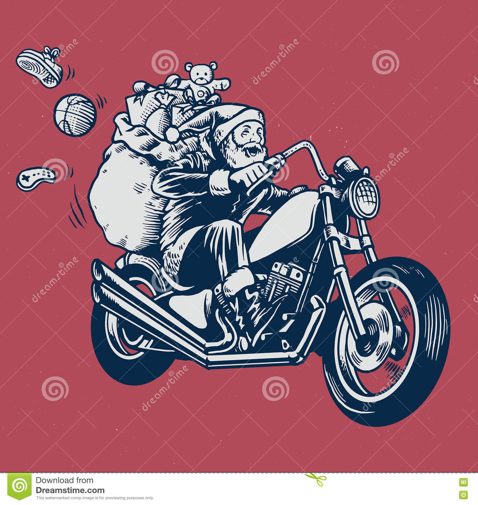 Santa Claus przejażdżka motocykl z wiązką boże narodzenie prezent