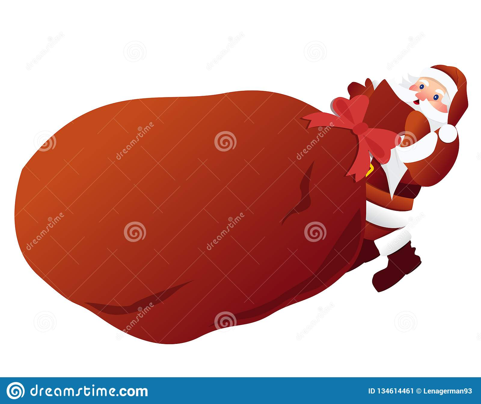 Santa Claus pulls a heavy big red bag with gifts for kids. Vector illustration