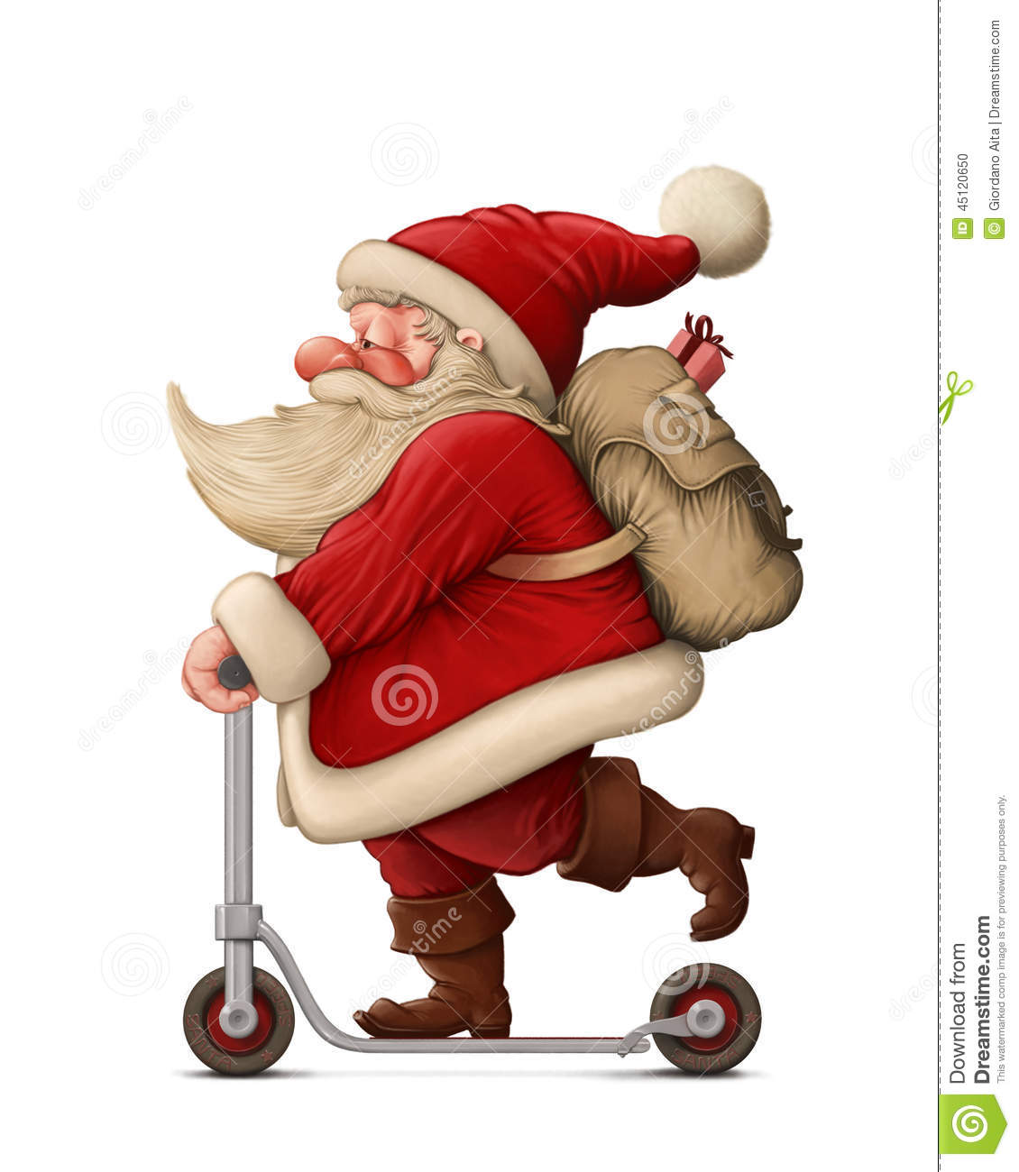 Santa Claus And The Push Scooter Stock Illustration - Image: 45120650