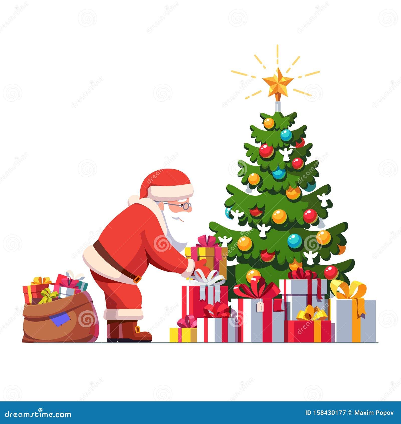 Santa Claus Putting Gift Box Under Christmas Tree Stock ...