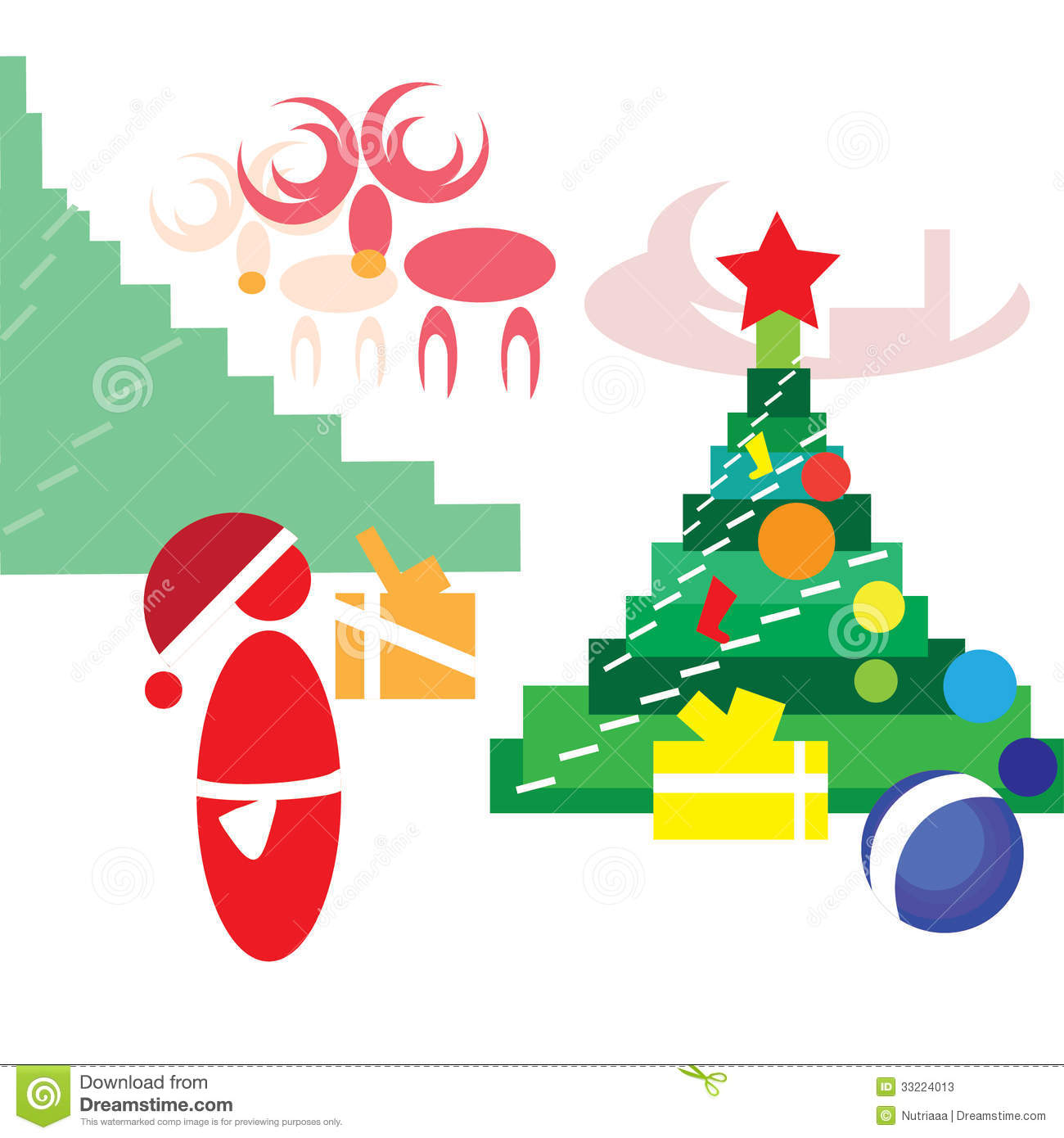 Presents Under The Christmas Tree: Santa Claus Putting Gifts Under The Christmas Tree Stock
