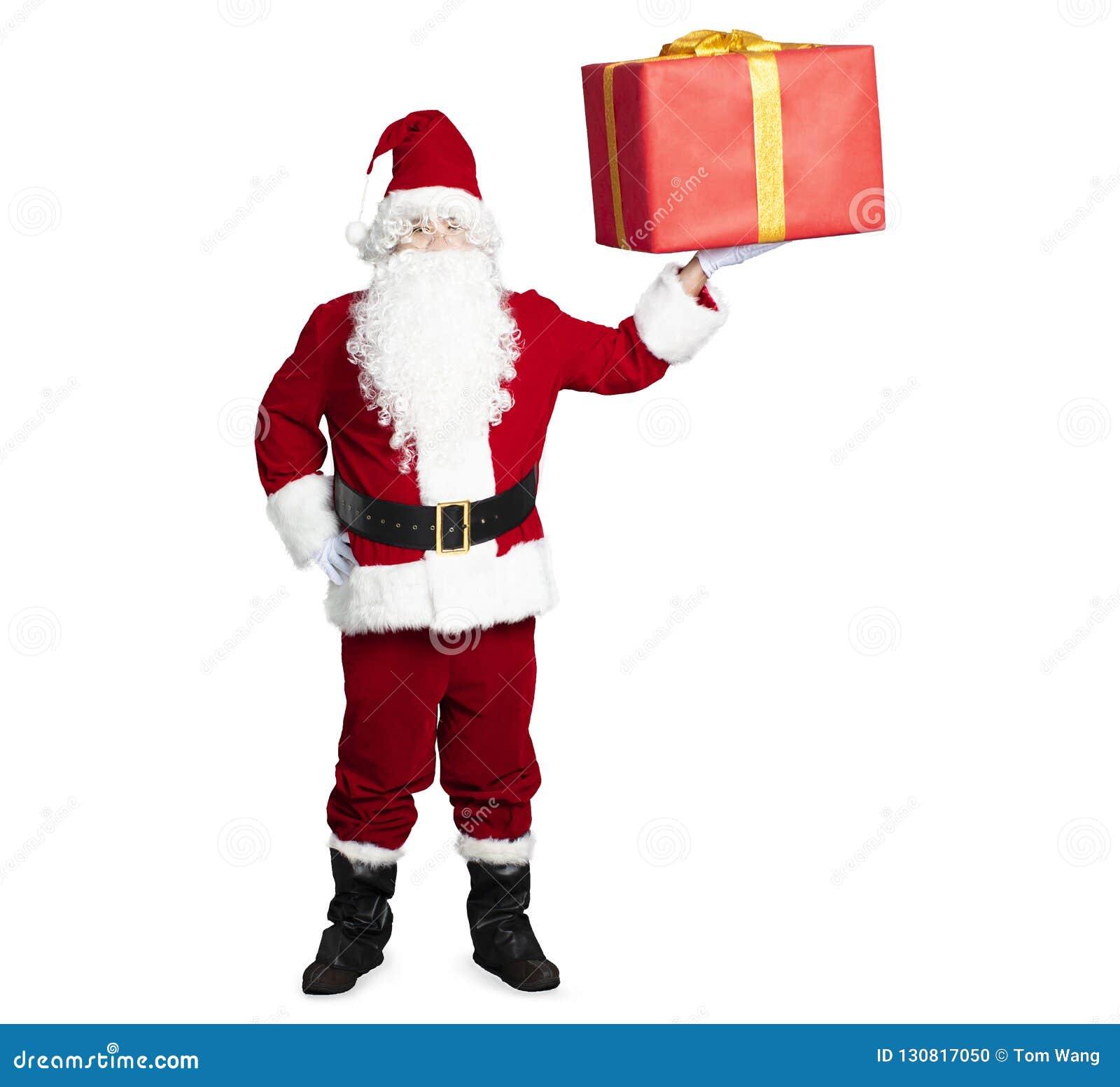 Santa Claus que mostra a caixa de presente
