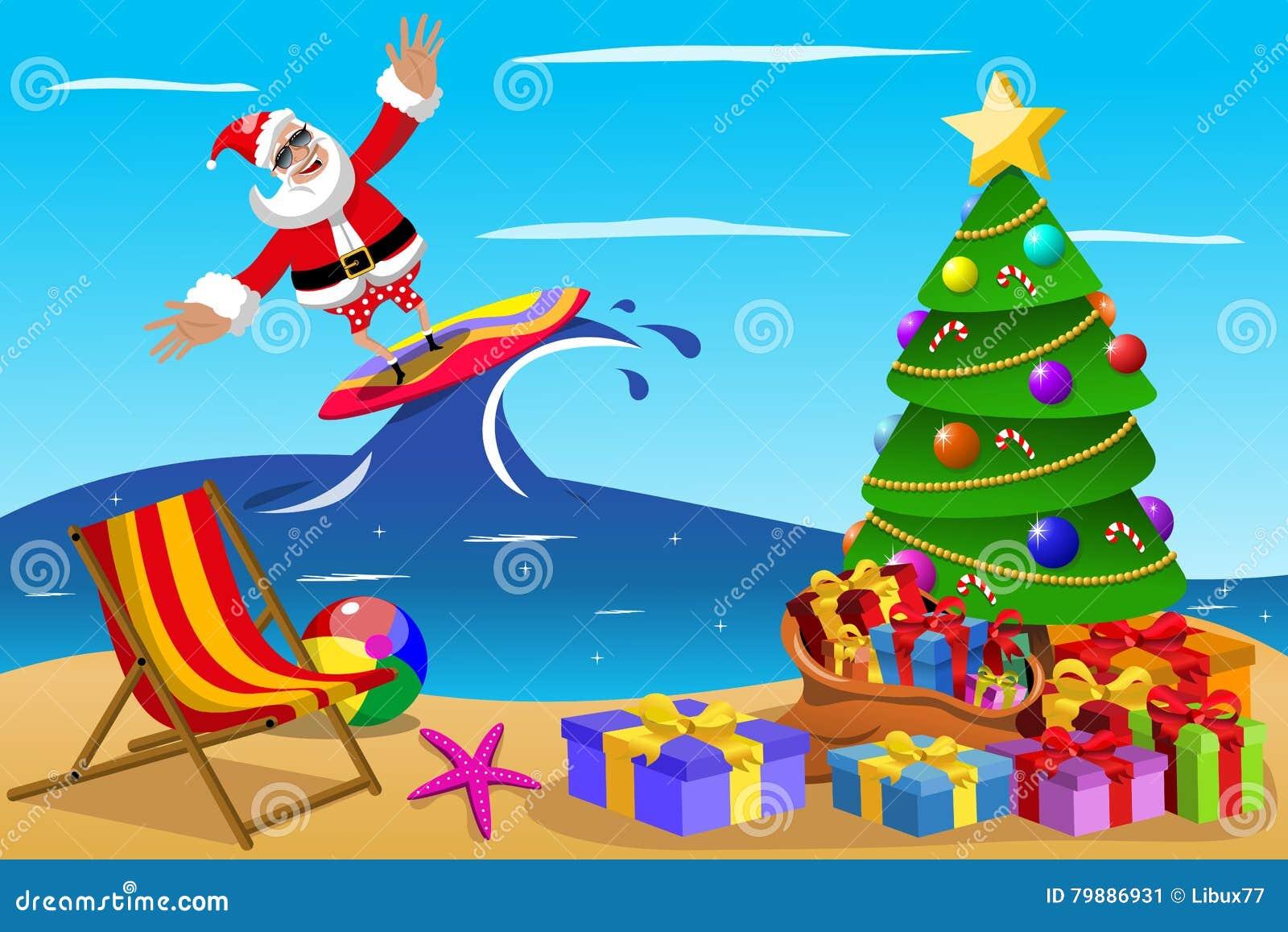 Santa Claus que practica surf tiempo de Navidad