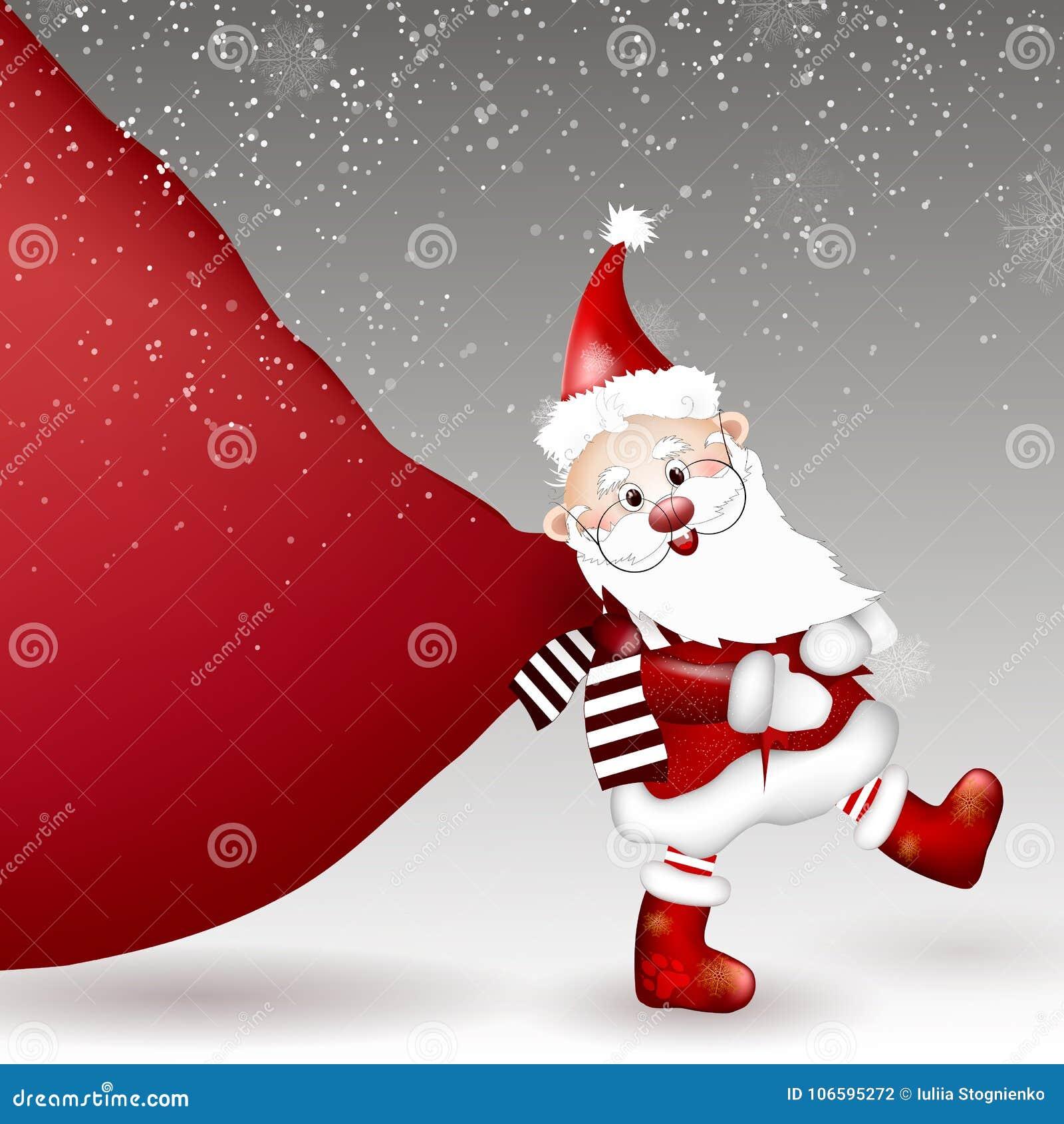 Santa Claus que tira del bolso enorme de regalos