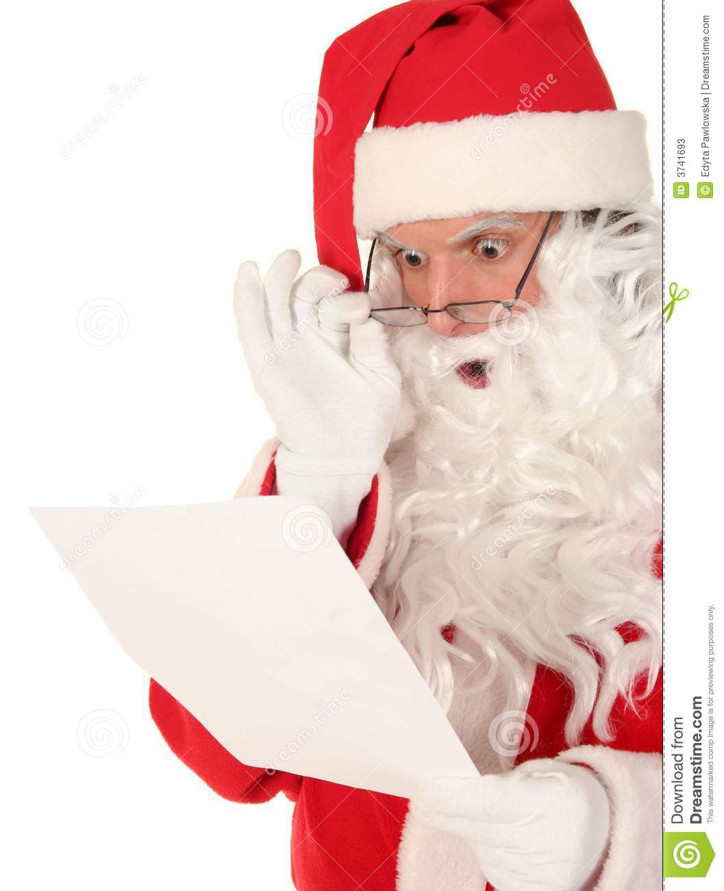 Santa Claus Reading Letter Stock Photos - Image: 3741693