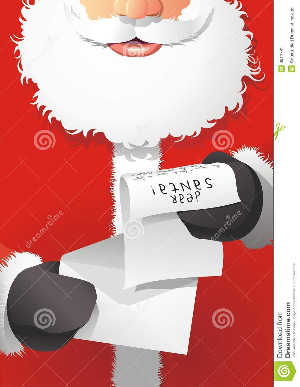Santa Claus Reading The Letter Stock Vector  Illustration Of Season