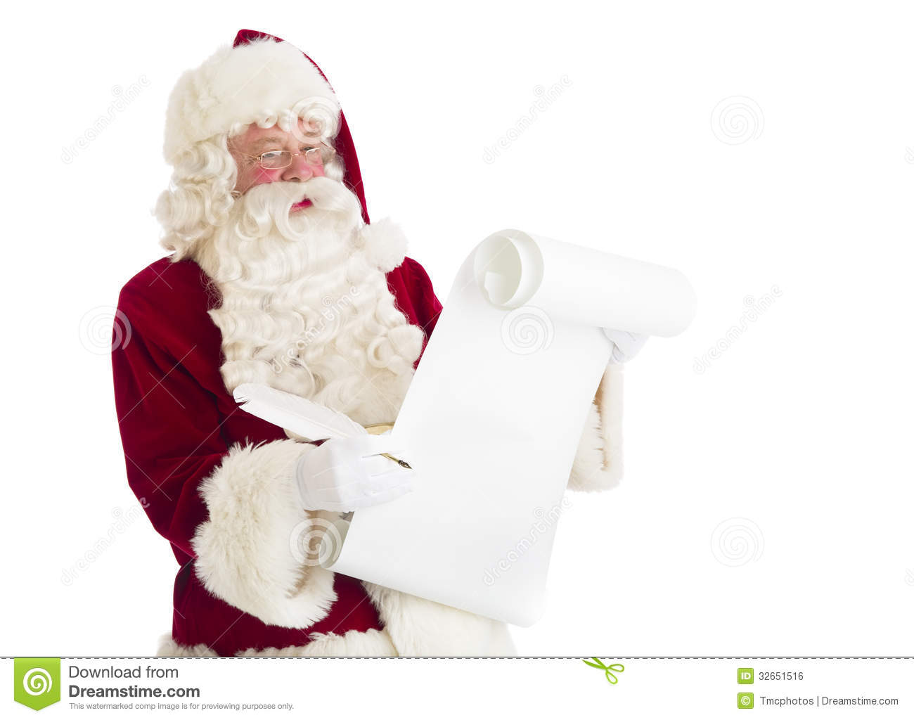 Santa Claus Reading List stock photo. Image of event ...