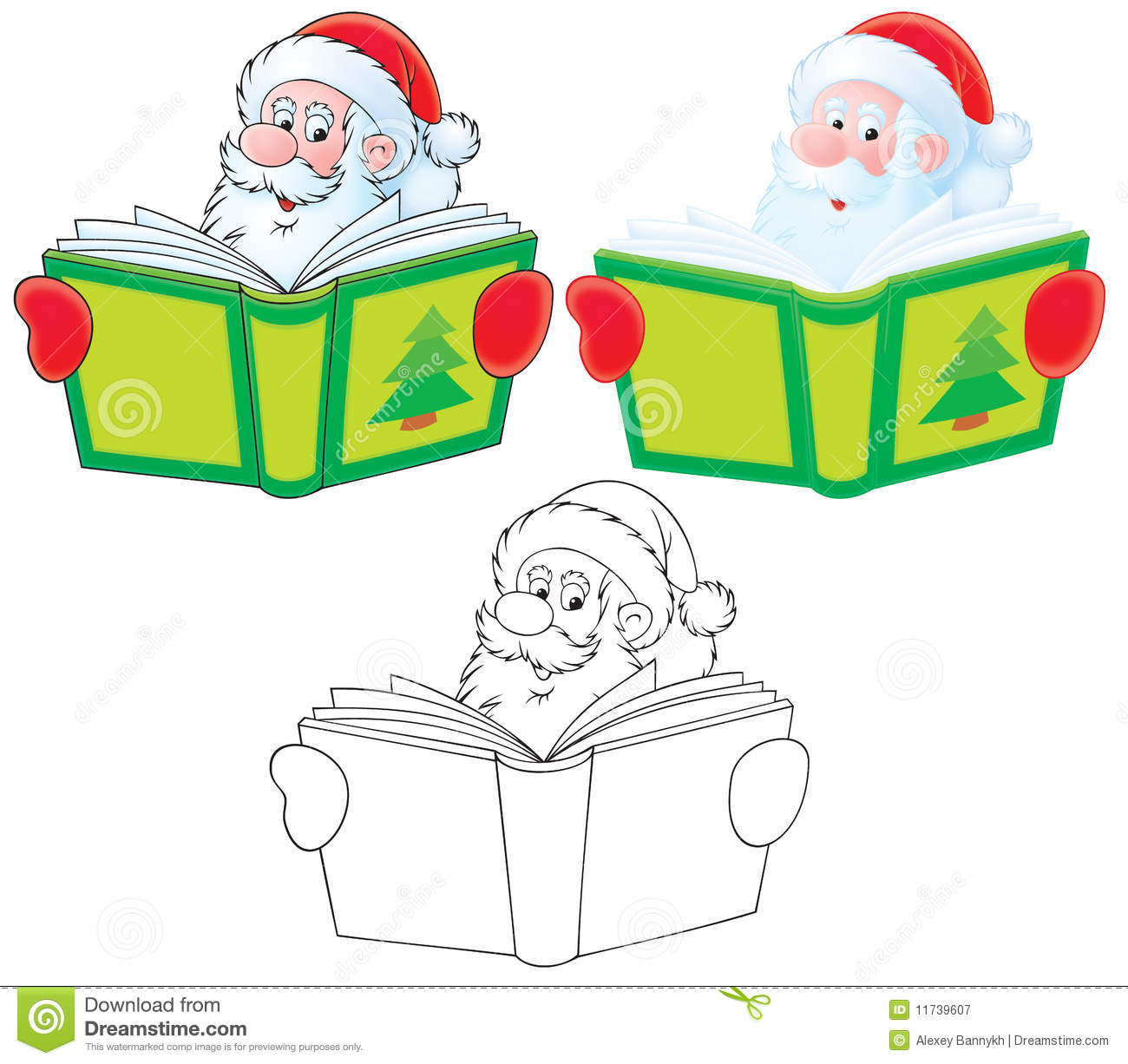 Santa Claus reads a book stock illustration. Illustration of over ...