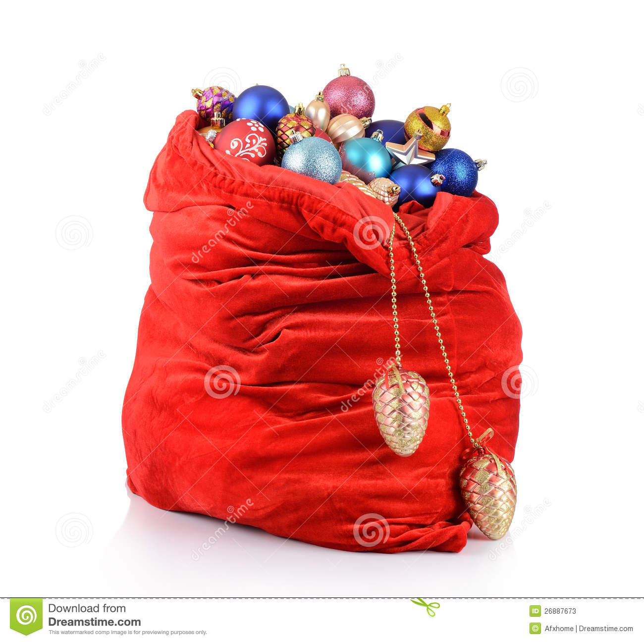 Sack Of Toys : Santa claus red bag with christmas toys stock photos