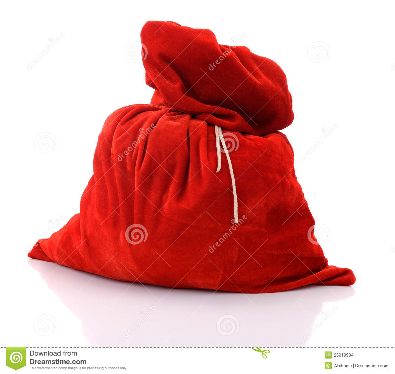 Santa claus red bag full on white background stock photo