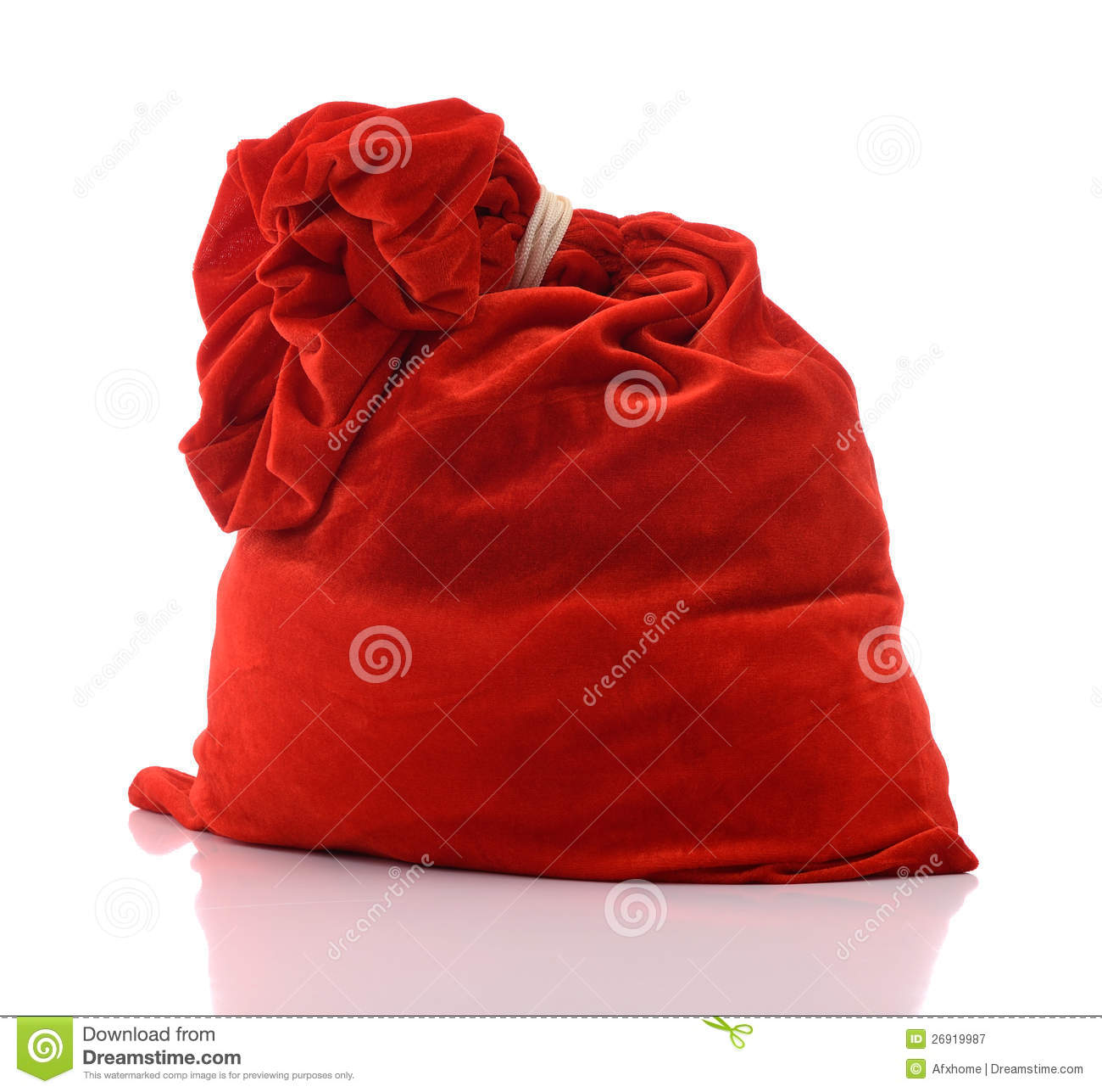 Santa claus red bag full on white background stock image