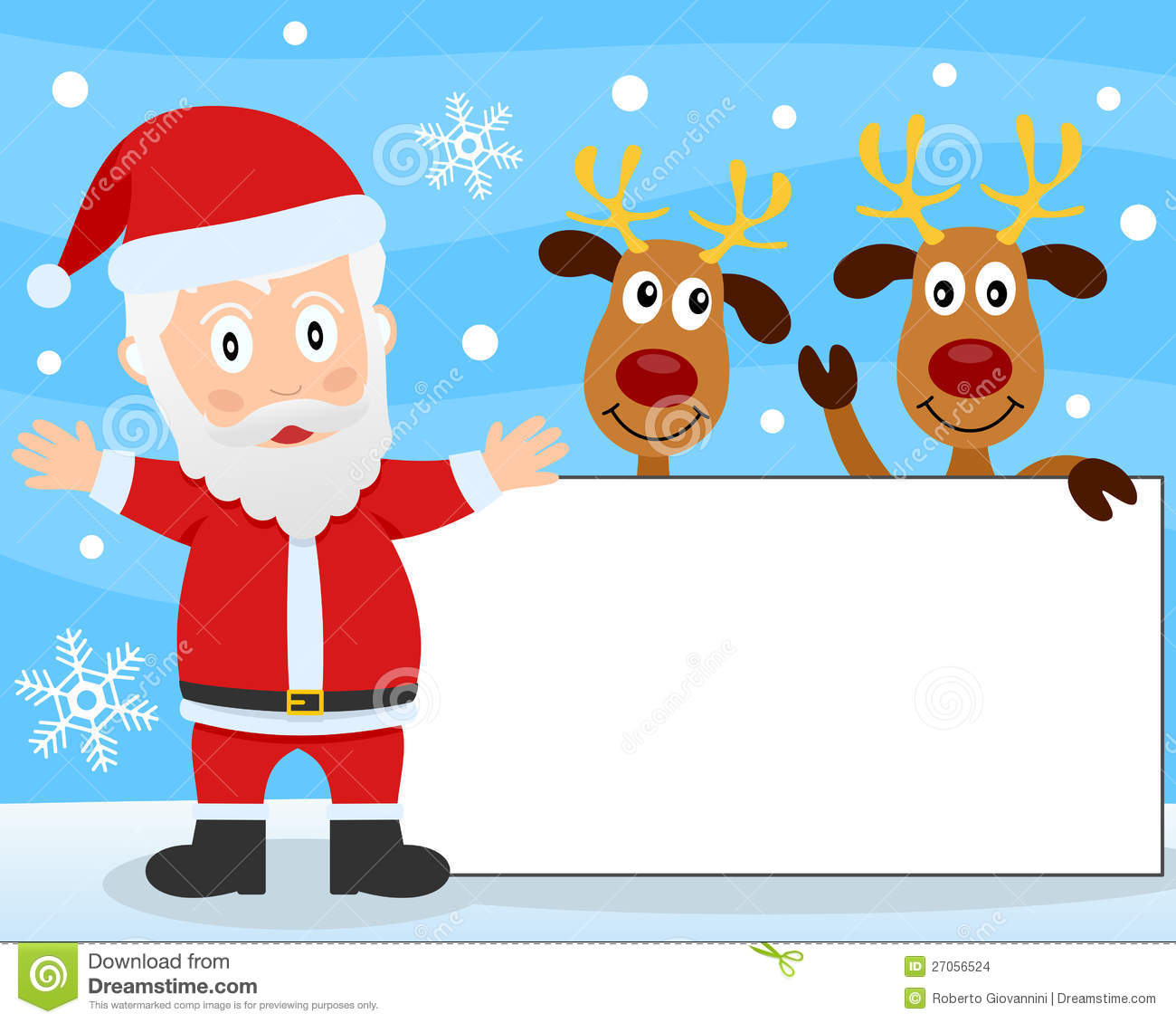 Santa claus and reindeer banner stock vector