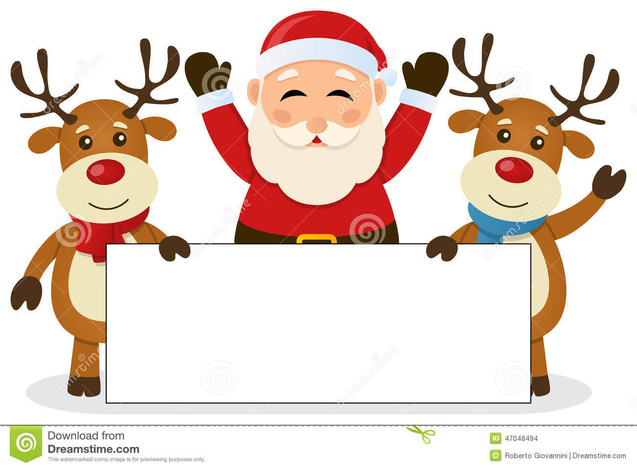 santa claus u0026 reindeer with blank banner stock vector image