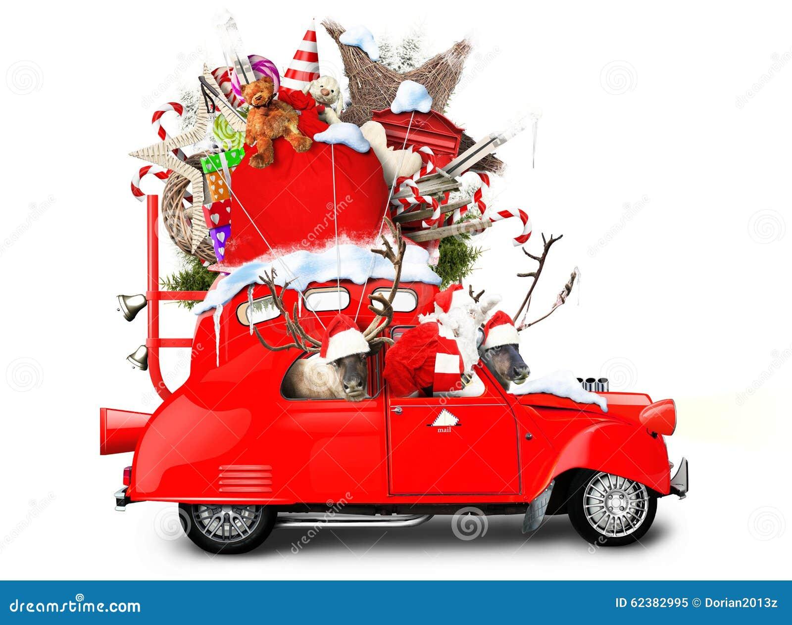 Santa claus with reindeer stock photo image