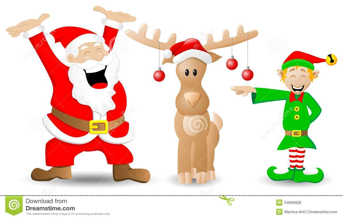 Santa Claus, Reindeer And Christmas Elf On White Royalty Free Stock ...