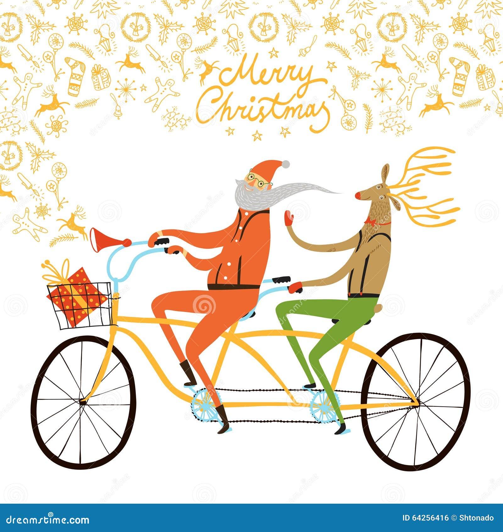 Santa Claus And Reindeer Cyclists Christmas Illustration ...