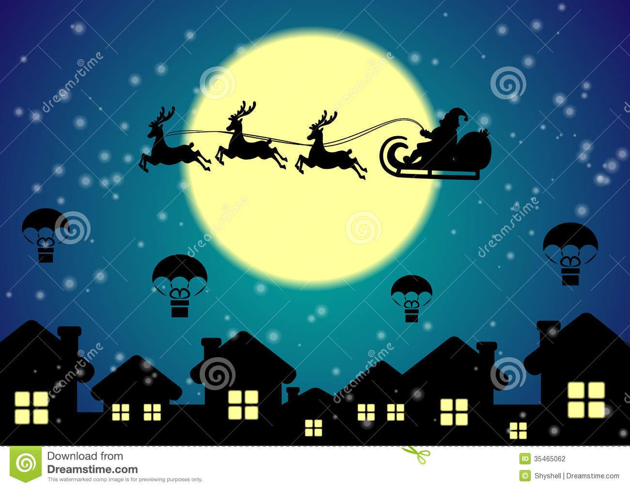 Santa Claus With Reindeer Flies Over Night City Stock