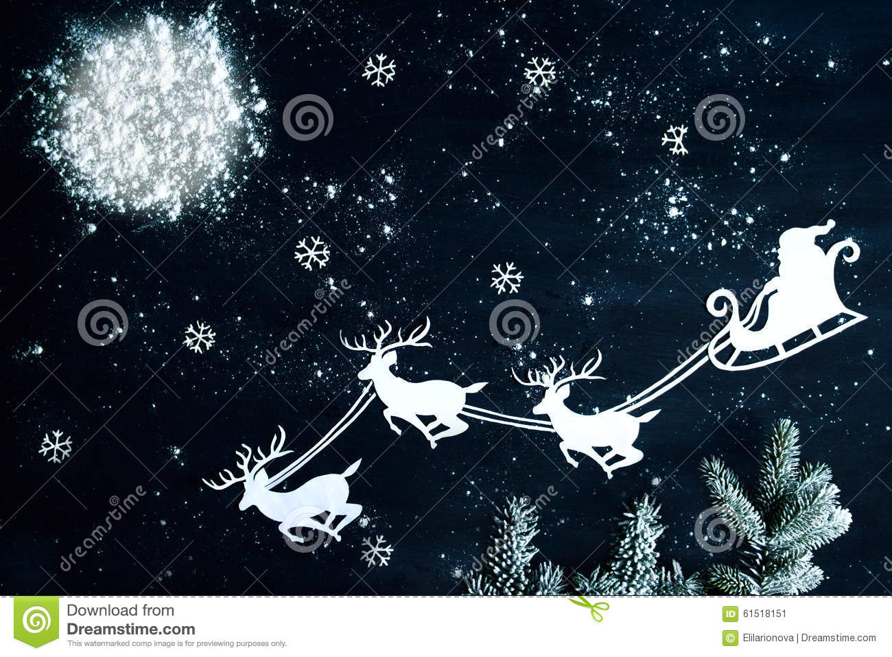 Santa Claus and reindeer flying through the night sky. Christmas ...