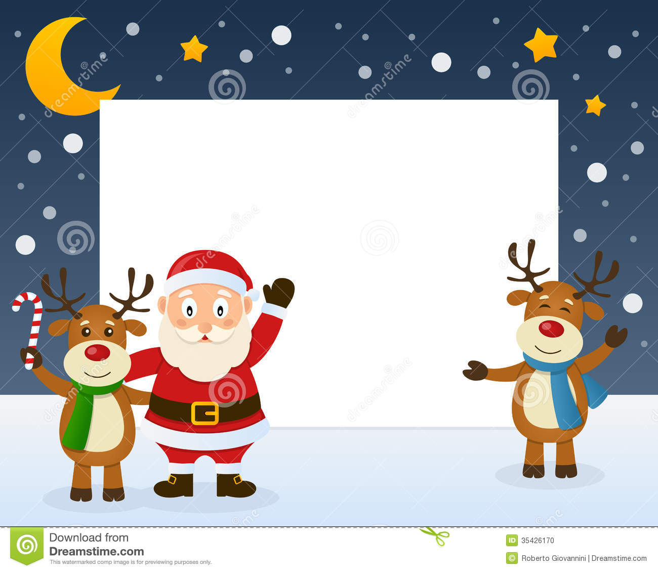 Santa Claus And Reindeer Frame Stock Photo - Image: 35426170