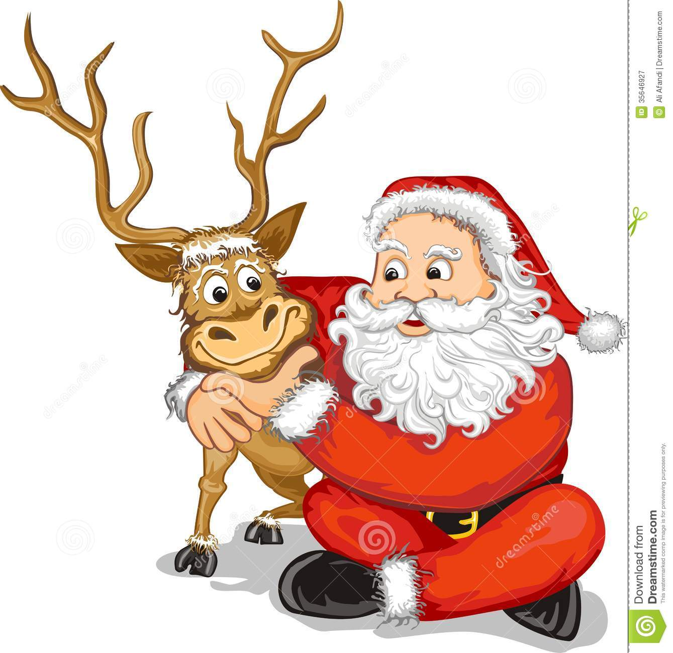 Santa claus and reindeer stock vector illustration of