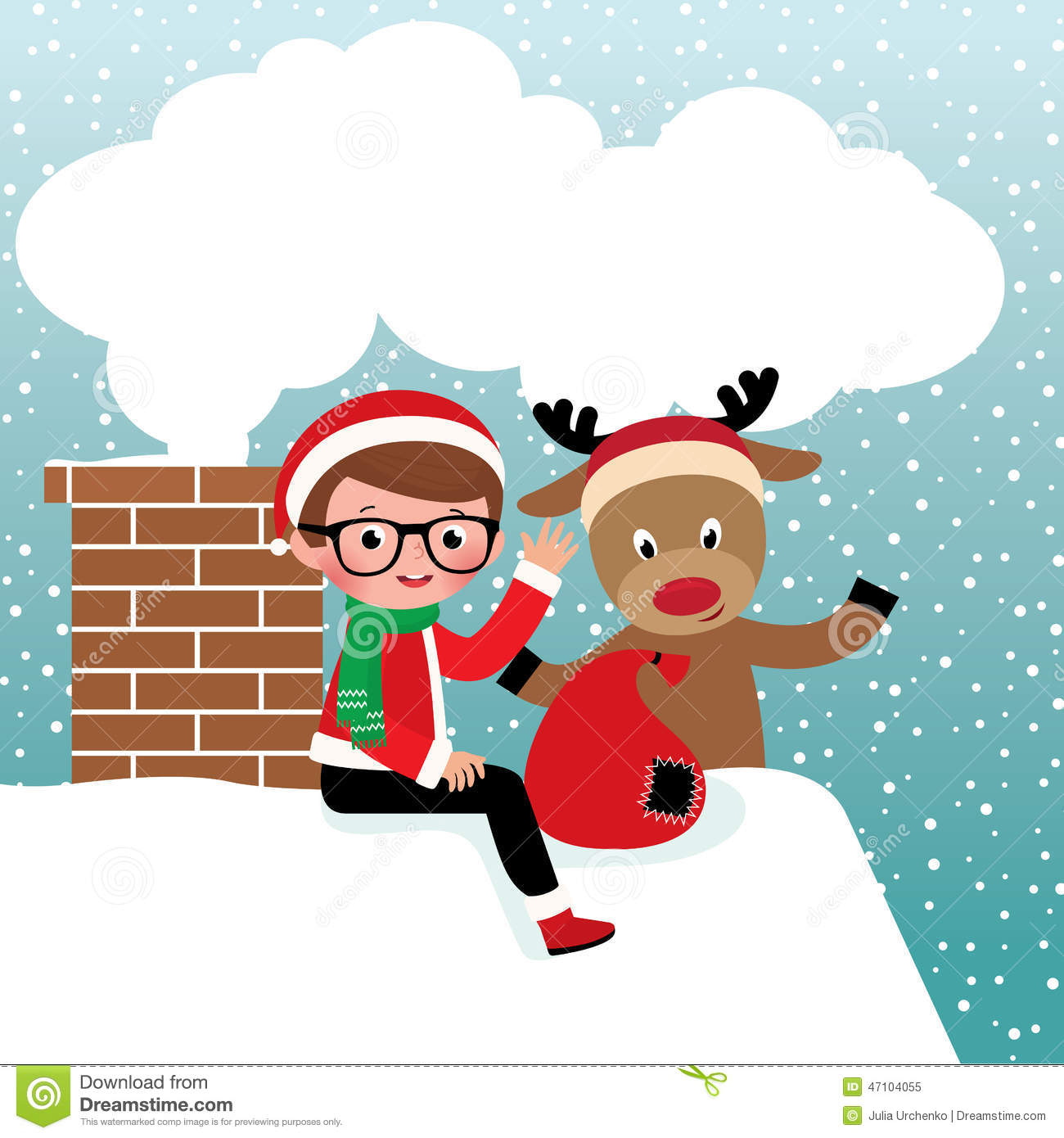 Funny Reindeer With Santa On The Roof Vector Illustration