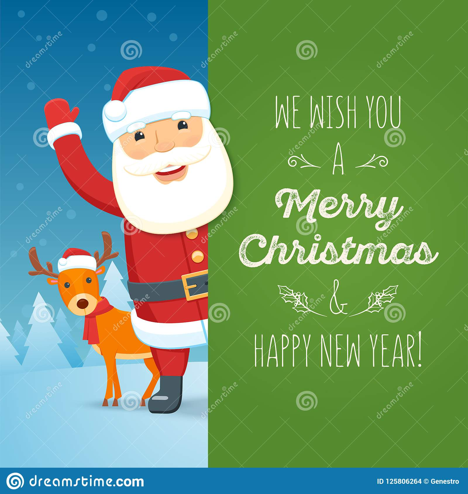 Weihnachtsbilder Merry Christmas.Santa Claus And Reindeer With Signboard Stock Vector Illustration